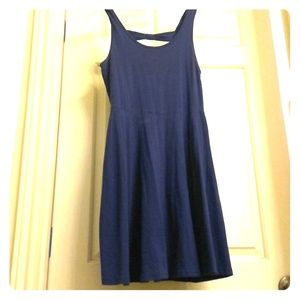 Blue, almost backless mini-dress